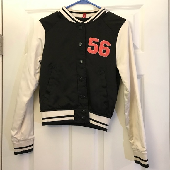 H&M Jackets & Blazers - H&M Embroidered Satin Baseball Jacket